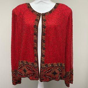 Laurence Kazar Vintage Beaded Silk Jacket
